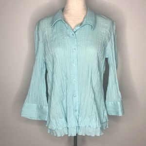 Christopher & Banks crinkle button down top